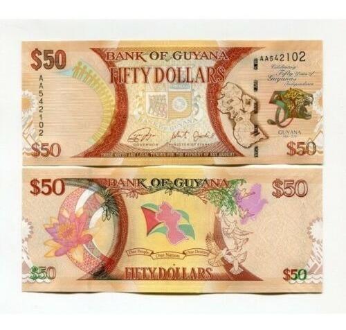 Guyana 50 Dolares Billete Nuevo Sin Circular