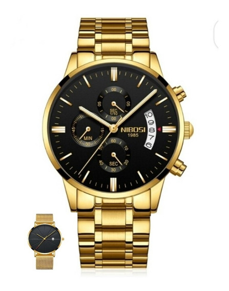 Relógio Nibosi+relógio Slim Açoinoxidável Original Sem Juro