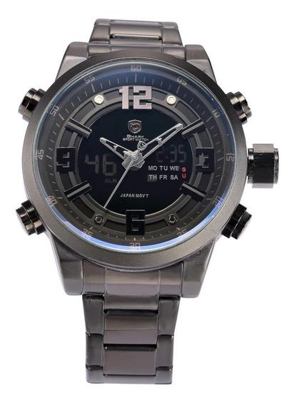 Desh047 Aço Faixa De Display Duplo Relógio De Quartzo Decora