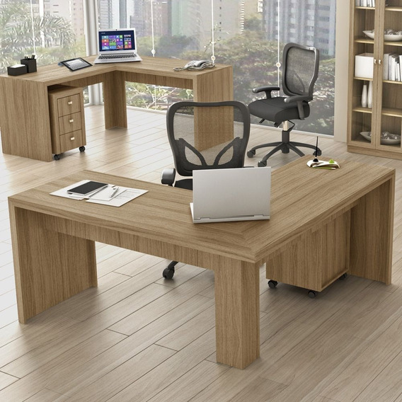 Mesa Para Escritório Angular Me4116 Amendoa - Tecno Mobili