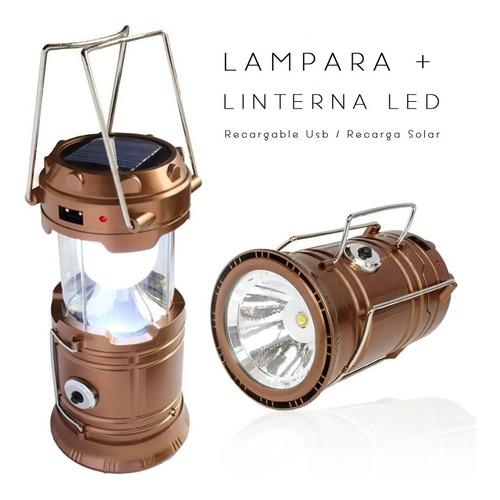 Linterna Lampara Solar Recargable Usb 6 En 1 Camping  6500k