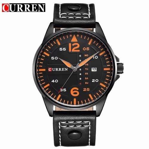 Relógio Curren Original 8224 Masculino Preto Laranja Barato