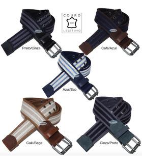 Kit 2 Cintos Plus Size Lona Premium Listrada Couro 4cm L39sl