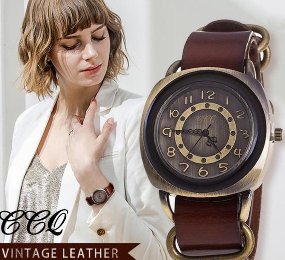 Relógio Feminino Estilo Vintage Pulseira Em Couro