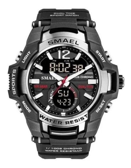 Relógio Militar Esportivo Smael Dual Time -1805 - Silver