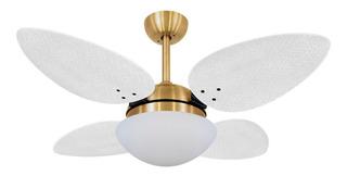Ventilador De Teto Volare Dourado Vd42 Pétalo Palmae Branco
