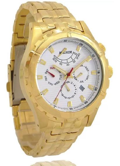 Relógio Magnum Masculino Automátic Banho Ouro 2 Ano Garantia