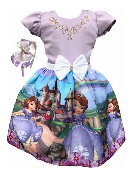 Vestido Princesa Princesinha Sofia + Tiara