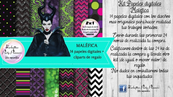 Papeles Fondos Digitales Malefica Kit Imprimible