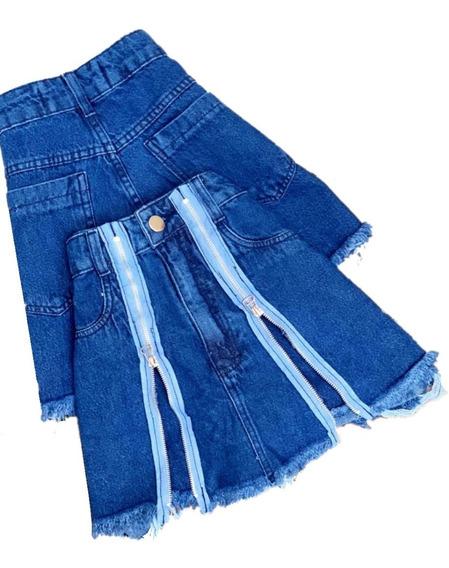 Saia Short Jeans Feminino Ziper Hot Pant Roupas Femininas
