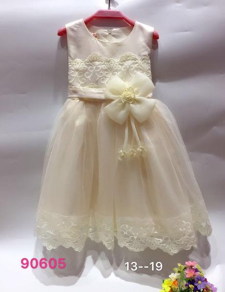 Vestido Fiesta Importado De Nena Raso Y Tul Articulo 90605