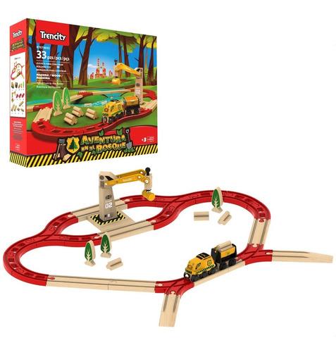 Imagen 1 de 10 de Trencity Tren De Madera Kit Aventura En El Bosque 33 Piezas