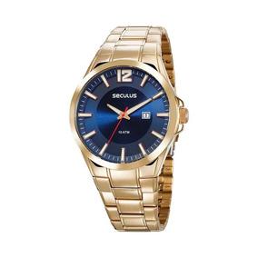 Relógio Seculus Original Visor Azul Calendário Aço Dourado