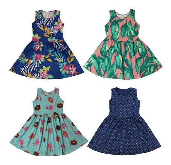Kit Com 4 Vestidos De Malha Atacado Infantil Cores Sortidas