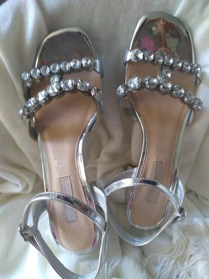 Zapatos Plateados Italianos De Fiesta Prima Donna Vera Pelle