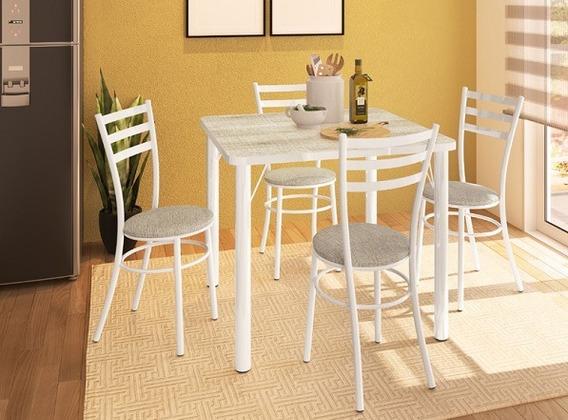 Mesa Madeirada Quadrada 90cm + 04 Cadeiras Banqueta Luca