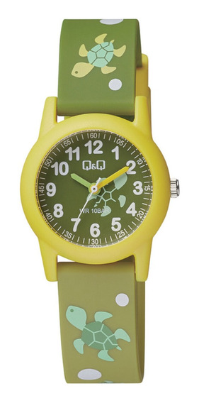 Relógio Masculino Infantil Amarelo E Verde Q&q Prova D