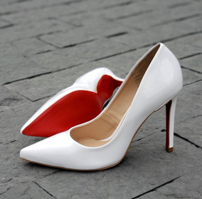 134d434ab6 Scarpins Solado Vermelho De Onca - Sapatos Branco no Mercado Livre ...