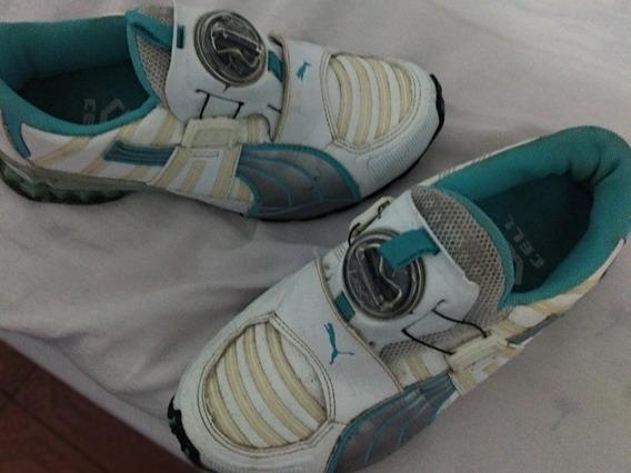 Tênis Puma Disc , Azul Bebe E Branco Relíquia. Tamanho 35 .