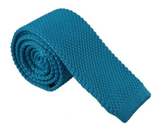Corbatas Tejidas Delgadas Sin Punta - Colores Sólidos