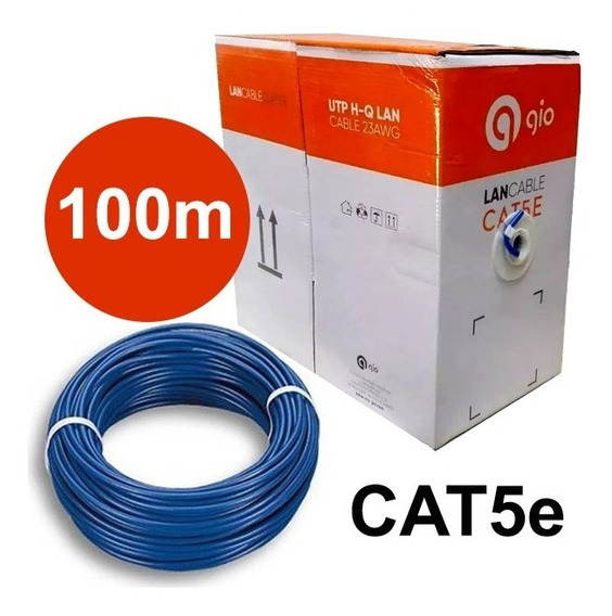 Cable Utp Cat5e Rollo De 100m Marca Gio Cctv Red Lan Camaras