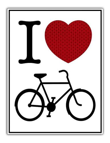 Poster Poster 65x85cm I Love Bike Decoração Bicicleta