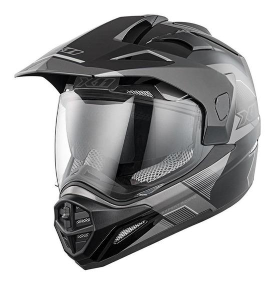 Capacete para moto cross X11 Crossover X3 preto, cinza tamanho 62