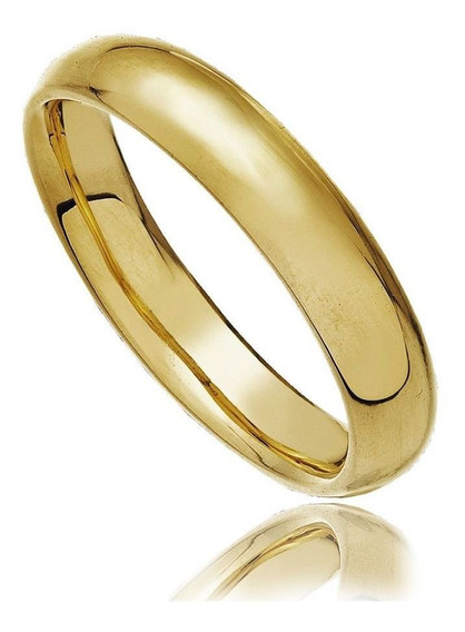 Aliança Abaulada Em Aço Inox Dourado