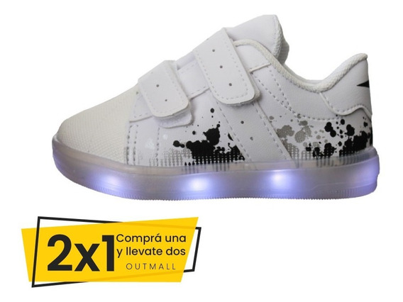 Zapatillas Blancas 2x1 Niños Luces Led Klin Cualquier Modelo