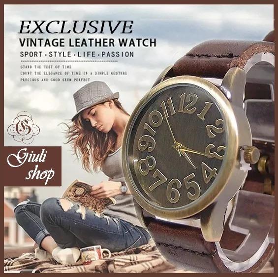 Relógio De Pulso Vintage Unissex Retrô Bronze Couro Marrom