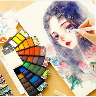 Acuarelas Profesionales 42 Colores Portátil Viaje Pintura