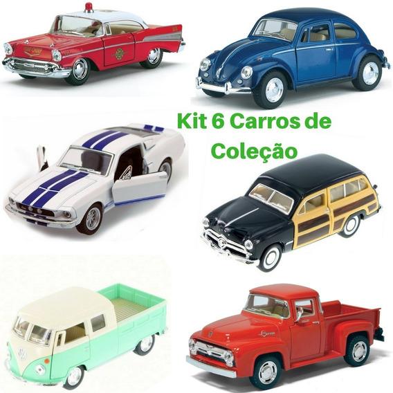 Carrinho Miniatura Kit Com 06 Unidades Metal Escala 1/32