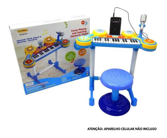 Teclado Piano Infantil + Microfone + Banquinho Luz Som
