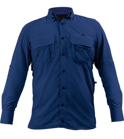 Camisa Adventure Azul Para Pesca Camping Manga Longa