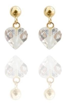 Brinco Coração Em Ouro 18k - Pedra Cristal Coração