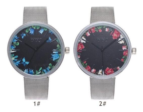 Relógio Feminino Lindo Pulseira Malha Aço Inoxidável