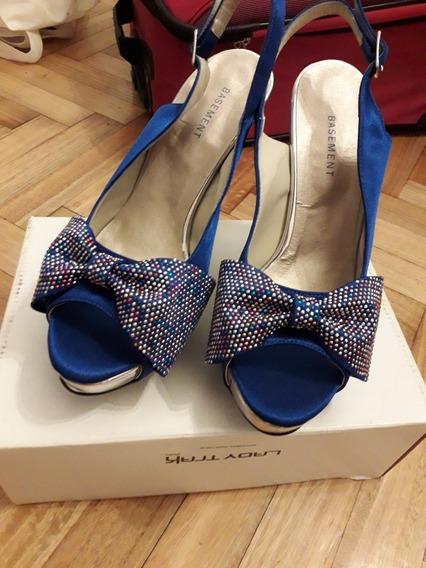 Zapatos Azules Taco Alto Nuevos Talle 39