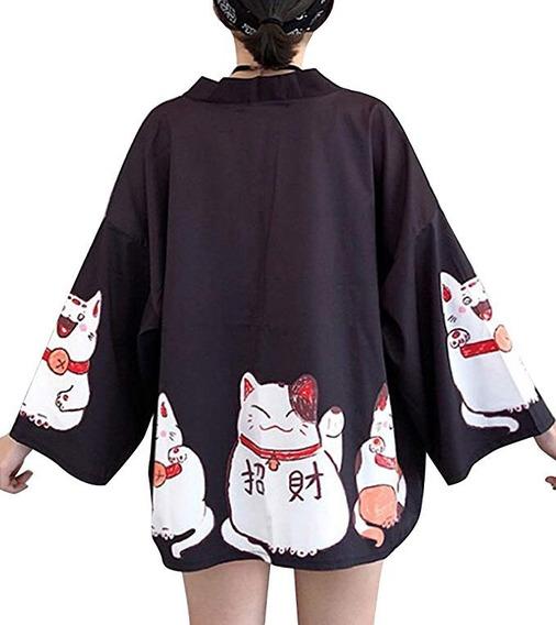 Kimono - Chaqueta De Manga 3/4 Para Mujer, Talla Única