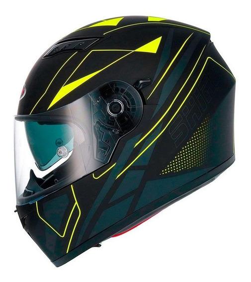 Capacete Moto Motociclista Com Oculos Interno Sol Shiro Sh 600 Elite Yellow Fluor