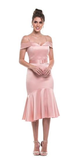 Vestido Festa Casamento Convidada Marsala Ou Rose Midi