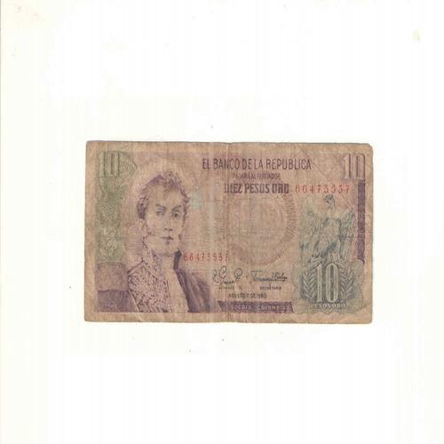 Imagen 1 de 2 de Billete De 10 Pesos Oro De Colombia Con Envio Gratuito