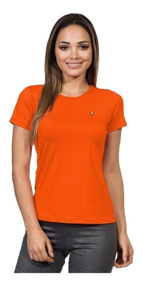 Camiseta Feminina Manga Curta Proteção Solar New Dry Flúor