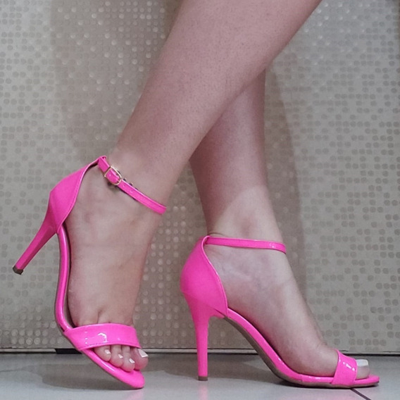 Sandalia Salto Agulha Rosa Pink