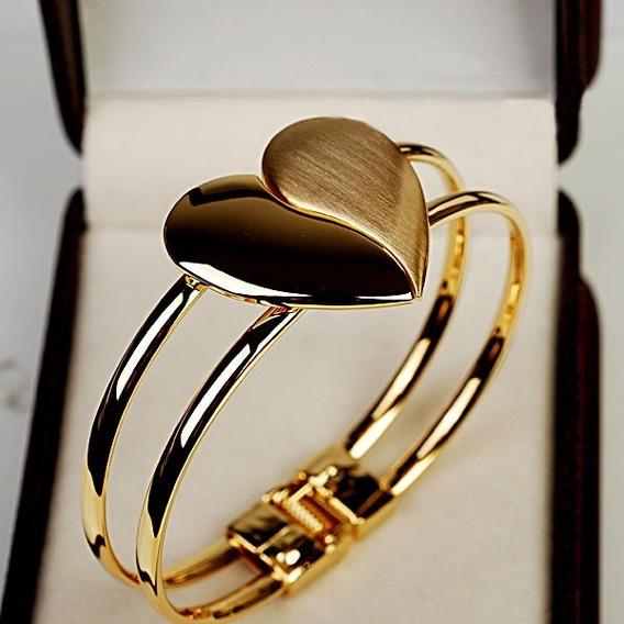 Pulseira Bracelete Coração Partido Folheado A Ouro