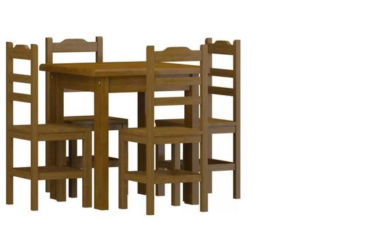 Conjunto De Mesa 75x75 Pérola Com 4 Cadeiras Imbuia