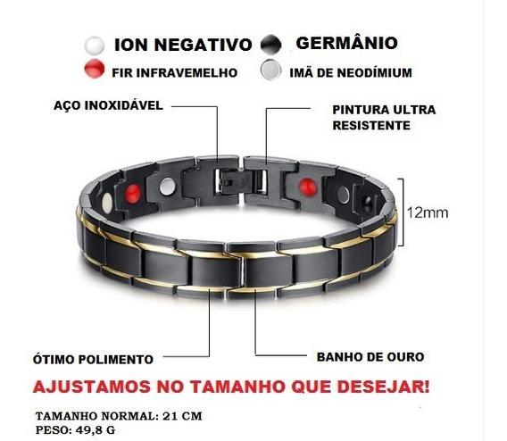 Pulseira Eletromagnetica Dourada Luxo Ion Bracelete Ima Inox