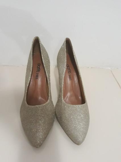 Scarpin Dafiti Shoes Salto Dourado N° 38