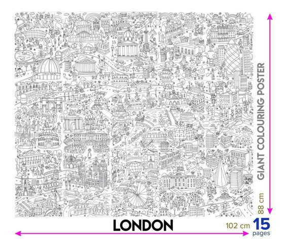 Póster Gigante De Londres Para Colorear 102 X 88 Cm