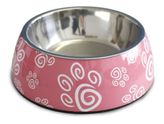 Comedouro Cães Gato Inox Melamina Melanox Petflex 250ml Rosa