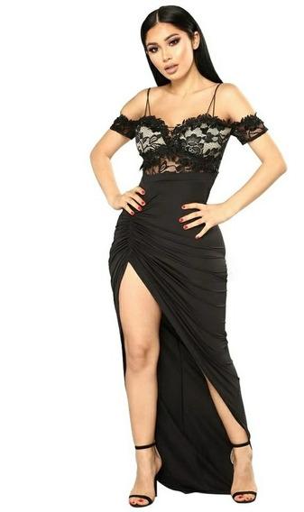 Vestido De Fiesta Largo Color Negro Nuevo Importado De Usa